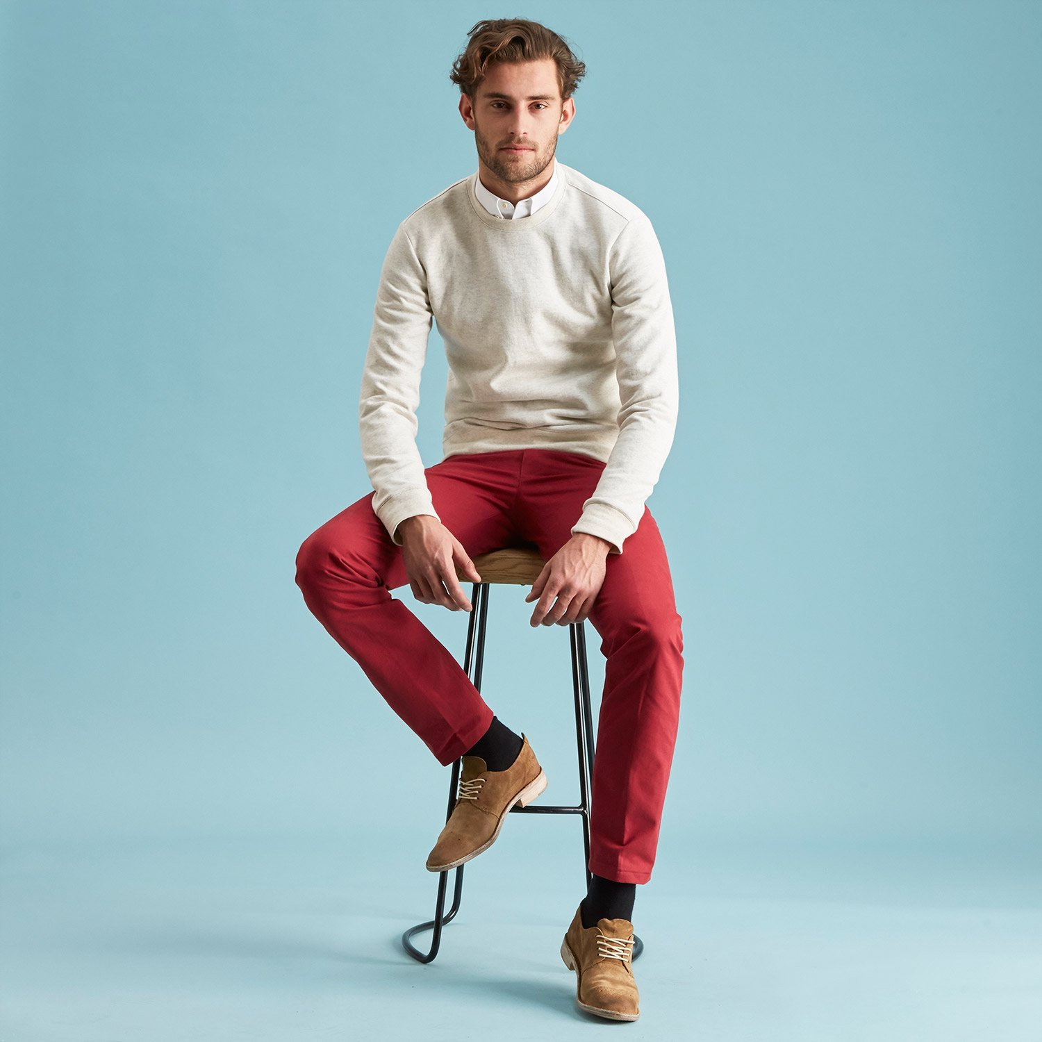 The American Khaki Maroon Todd Shelton seated