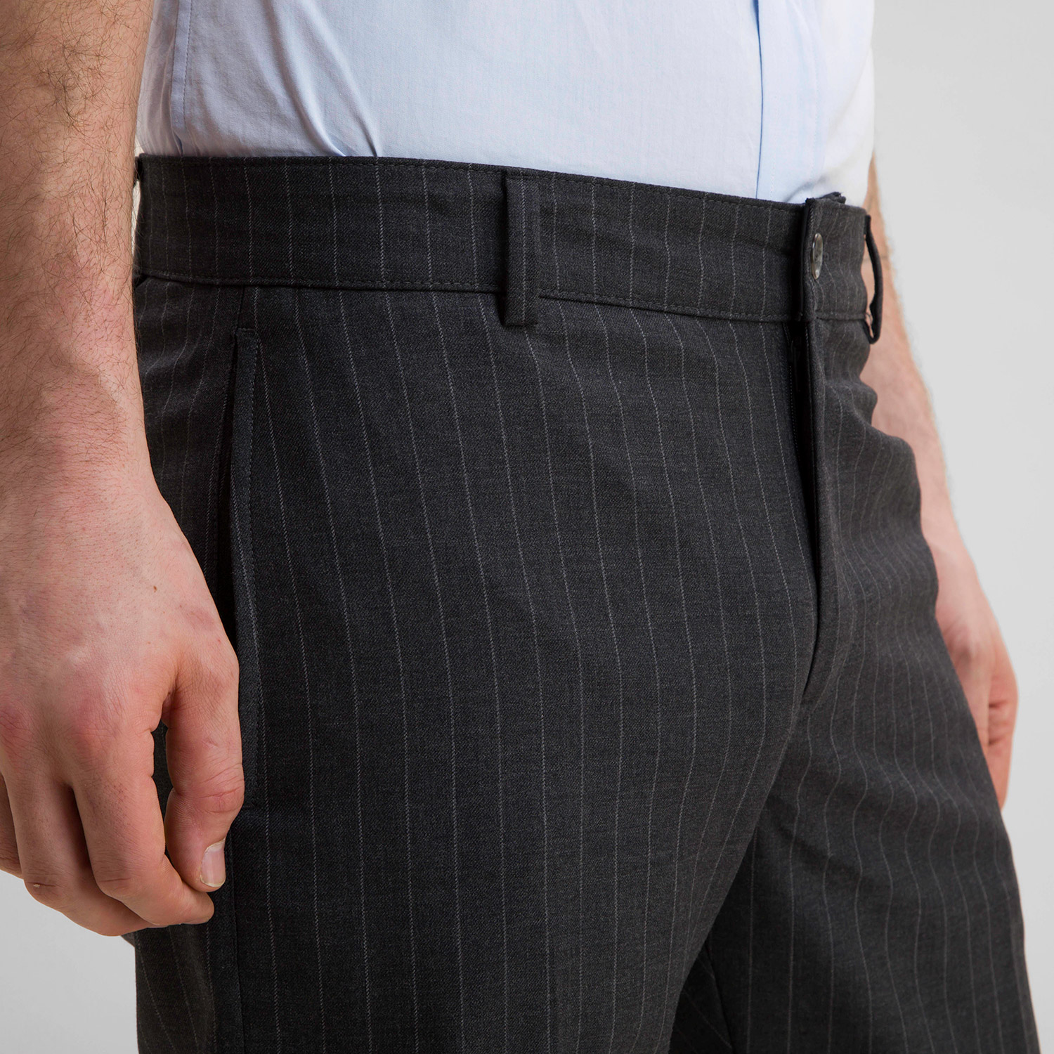 Wool Office Trouser Medium Grey Pinstripe