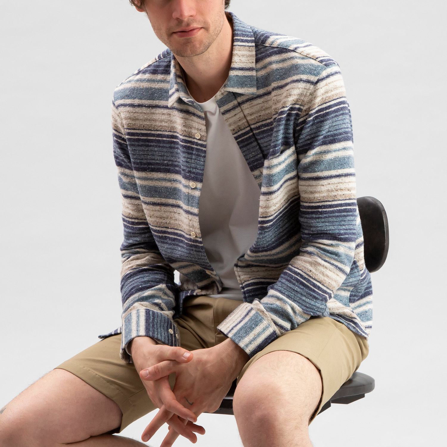 Baja Cotton Overshirt Blue Stripe