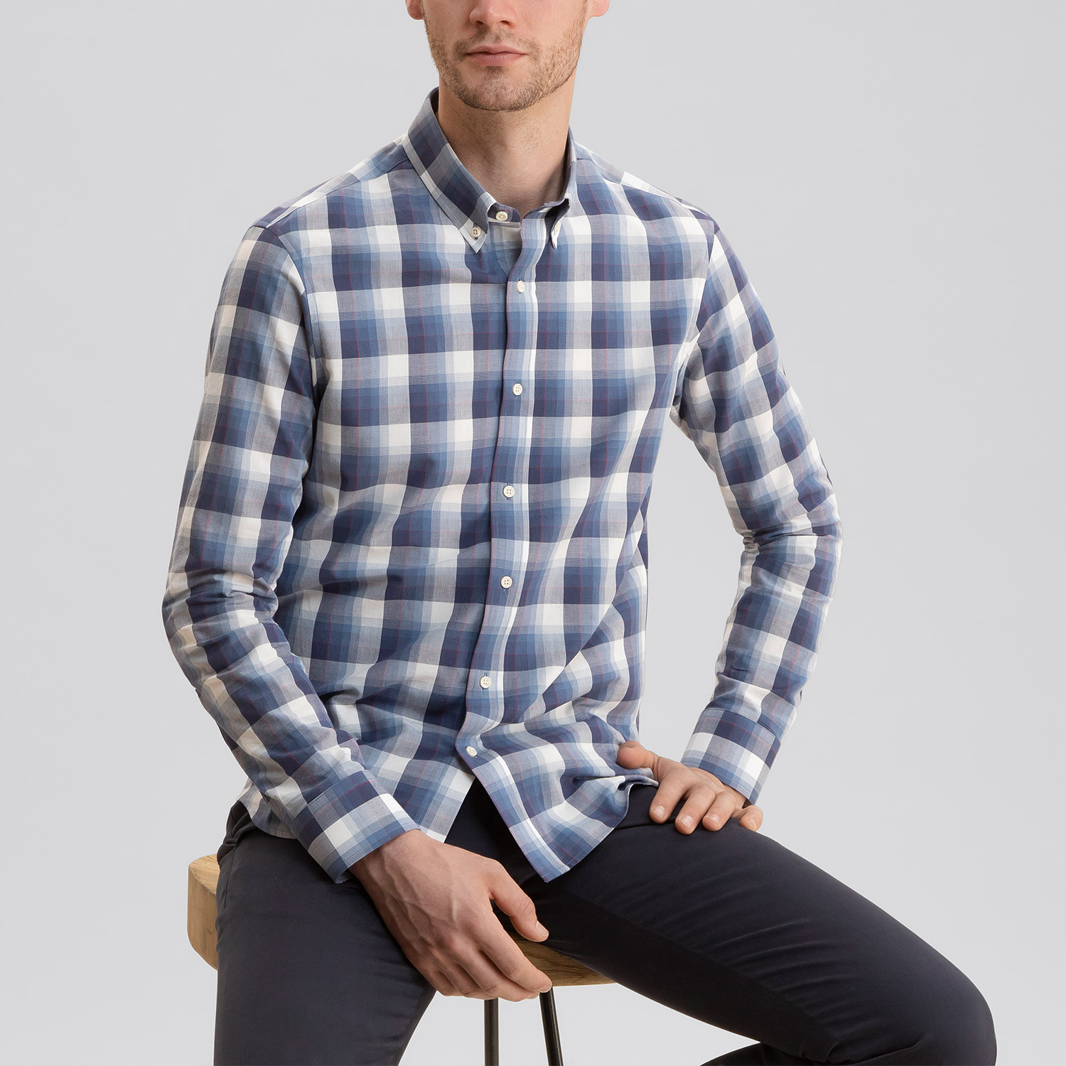 Chambray Shirt Blue Plaid