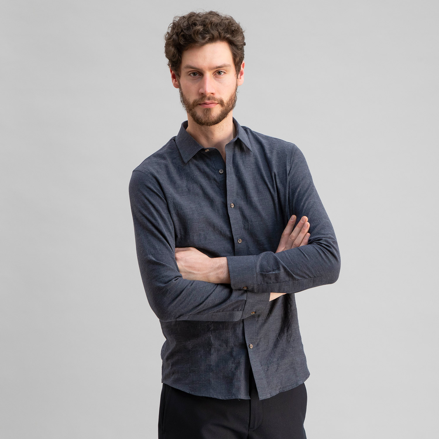 Japanese Soft Cotton Herringbone Shirt Navy Grey