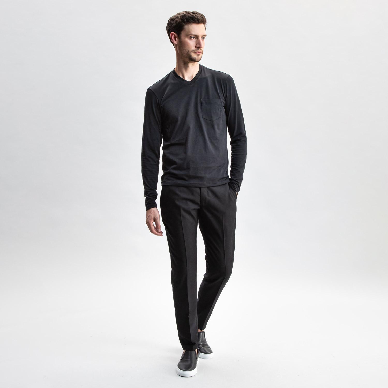 Long Sleeve V-neck Black