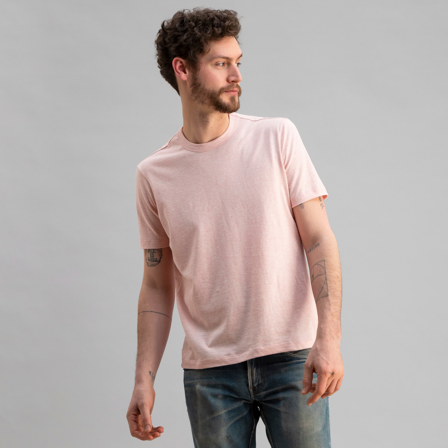Short Sleeve Crew Heather Pink