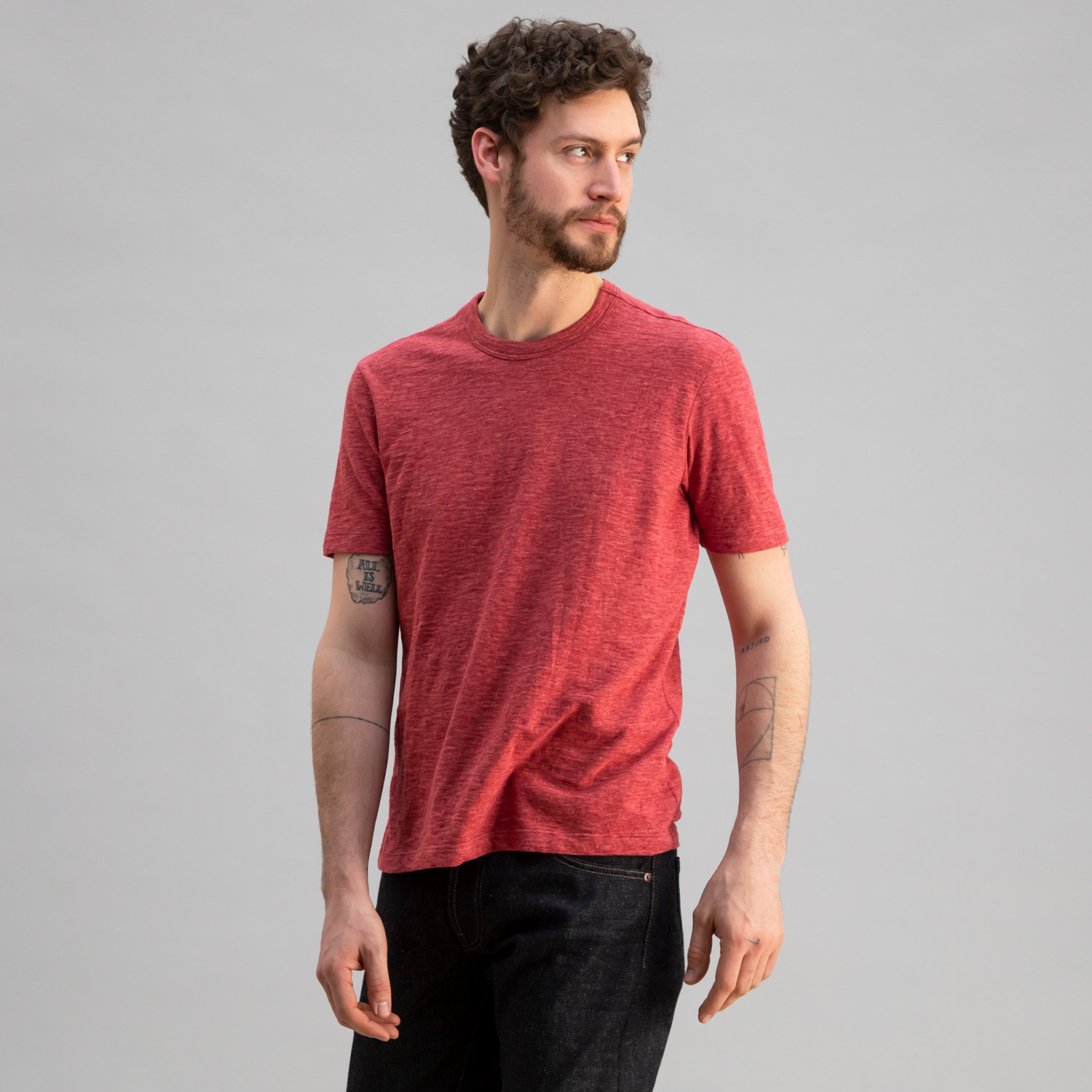 Slub Cotton Crew Heather Red