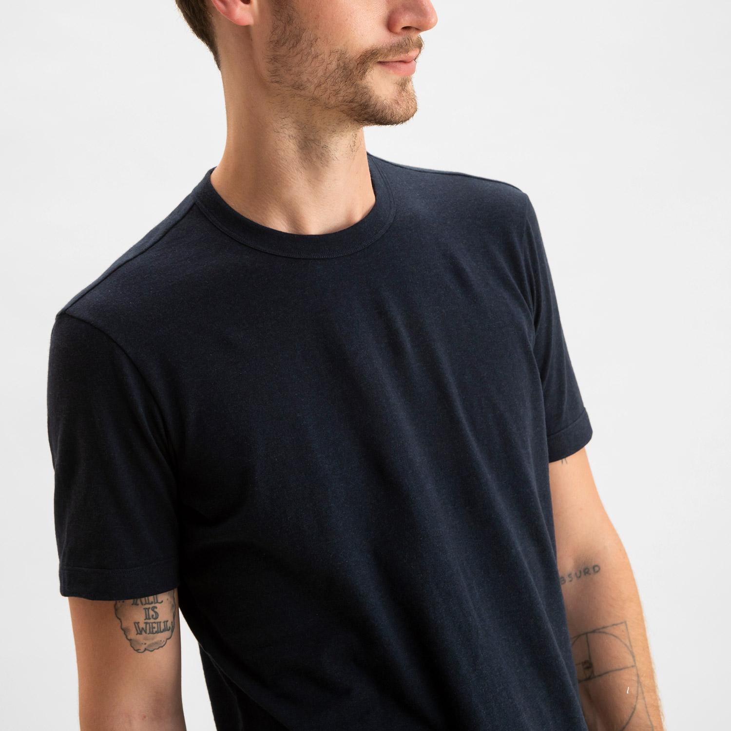 Short Sleeve Crew Heather Navy