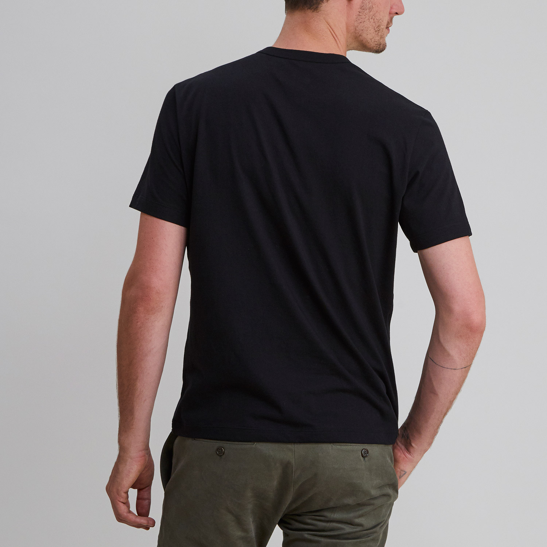 Short Sleeve Henley Black