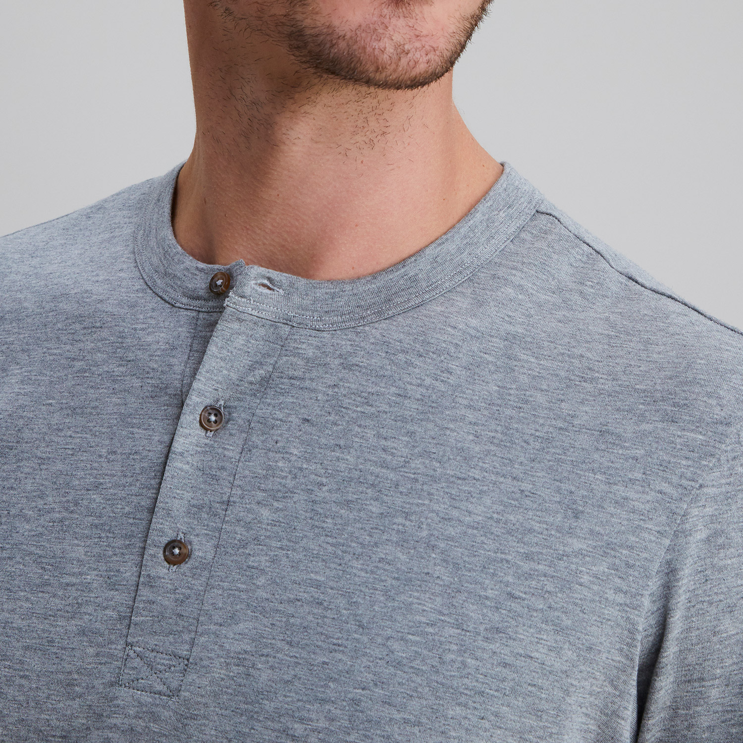 Short Sleeve Henley Heather Grey