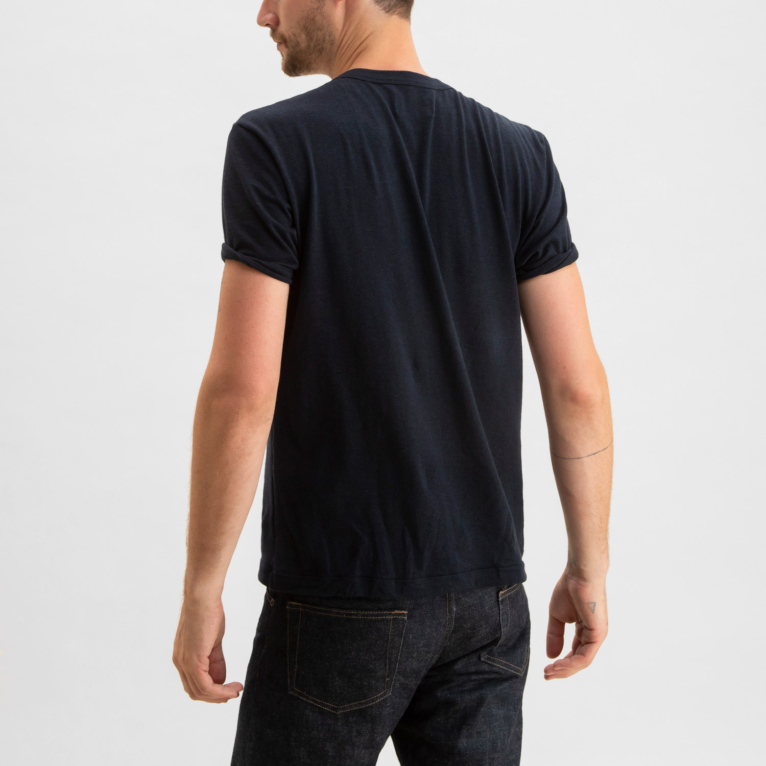 Short Sleeve Henley Heather Navy