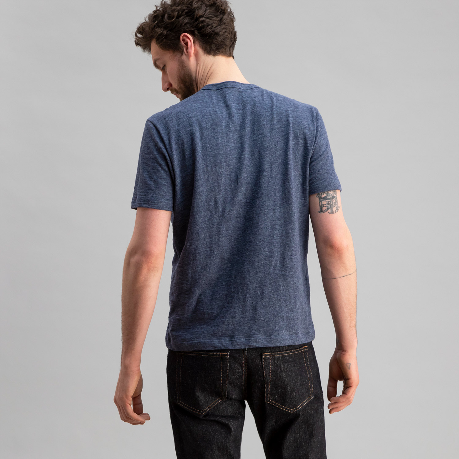 Slub Cotton Crew Heather Blue