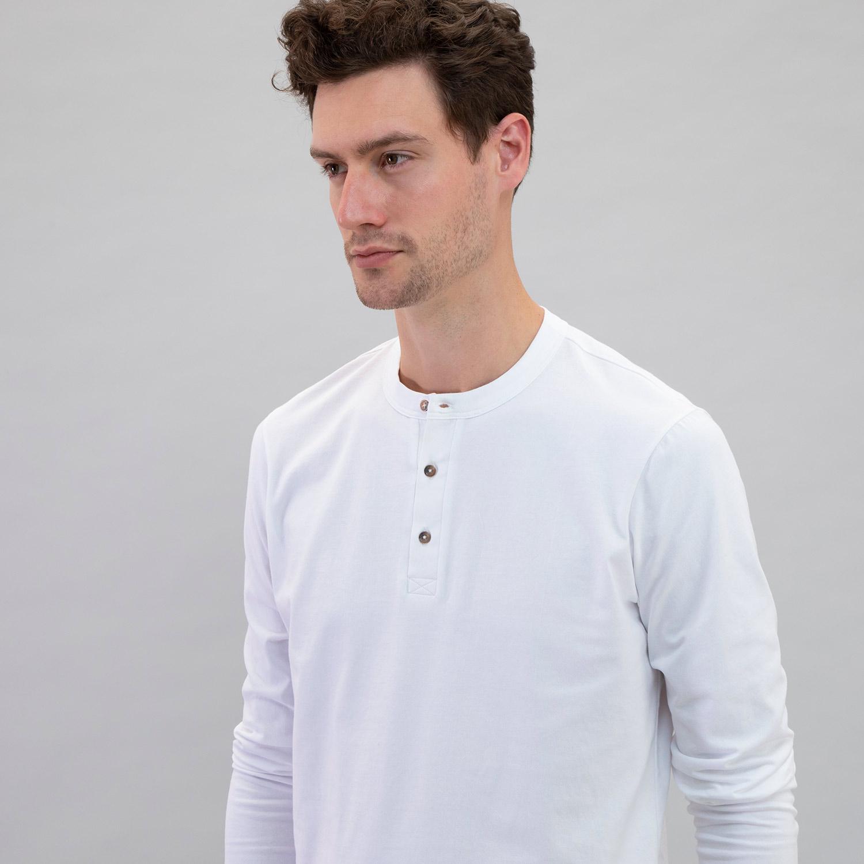 Long Sleeve Henley White
