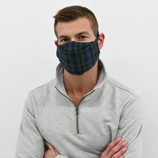 Green Tartan Flannel Face Masks