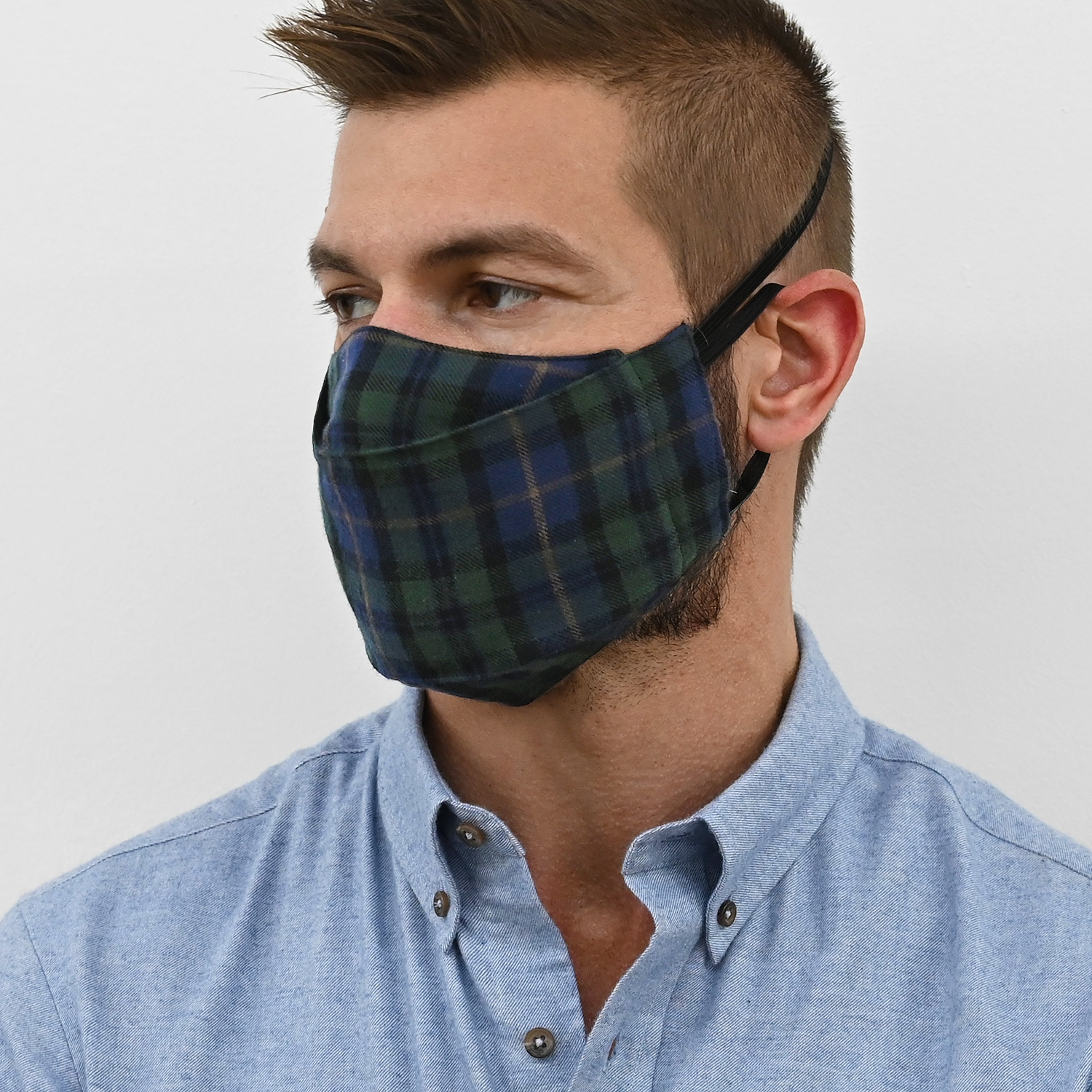 Green Tartan Flannel Face Masks