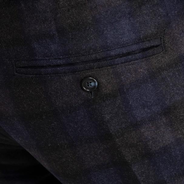 Flannel Wool Trouser Blue Plaid