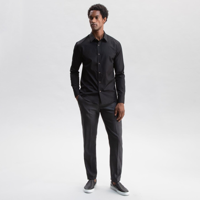 Flannel Wool Trouser Dark Grey