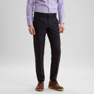 Wool Office Trouser Midnight Navy Pinstripe