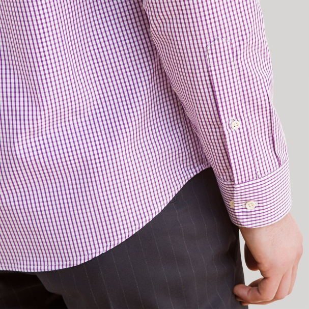 Purple Check Men's Dress Shirt