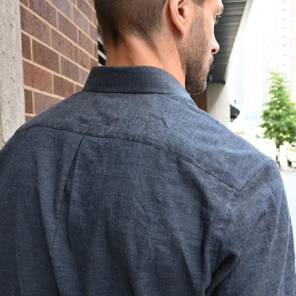 Japanese Herringbone Short Sleeve Navy Grey
