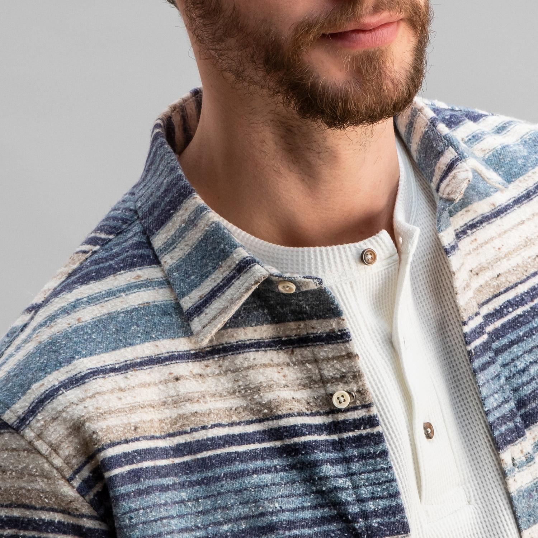 Baja Cotton Overshirt Blue Stripe
