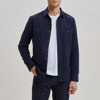 Brushed Cotton Overshirt Navy
