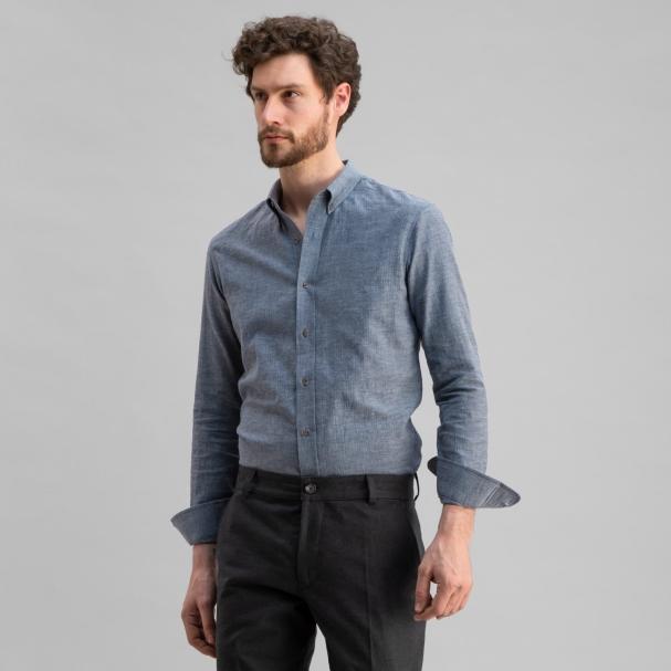 Japanese Soft Cotton Herringbone Shirt Blue