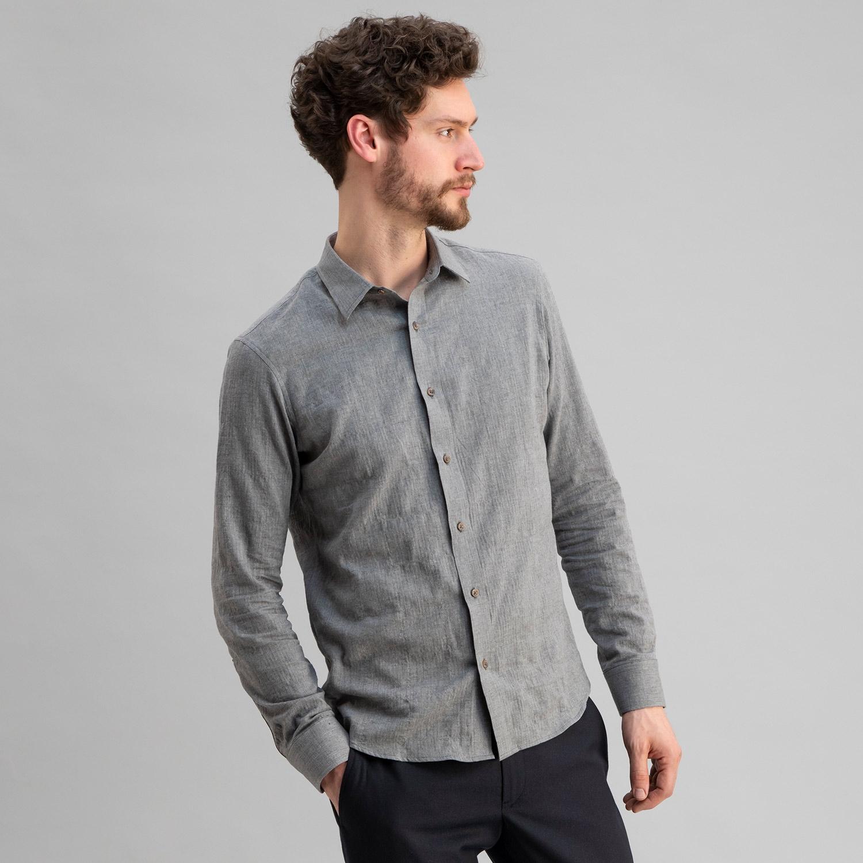 Japanese Soft Cotton Herringbone Shirt Grey