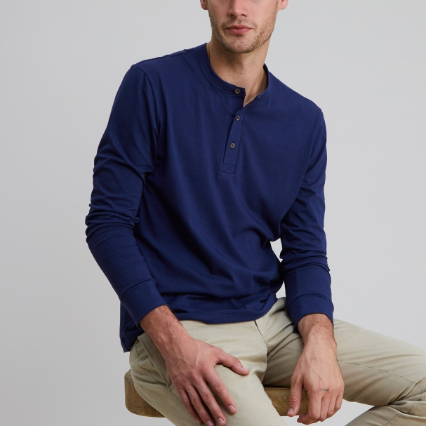 Long Sleeve Henley Navy